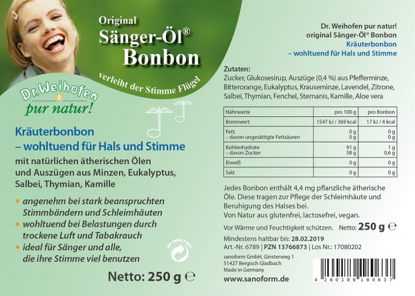 Sänger-Öl Bonbon ca. 250 Stück = 250 g
